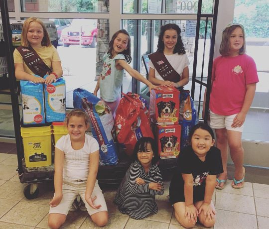 girl scouts at Paws